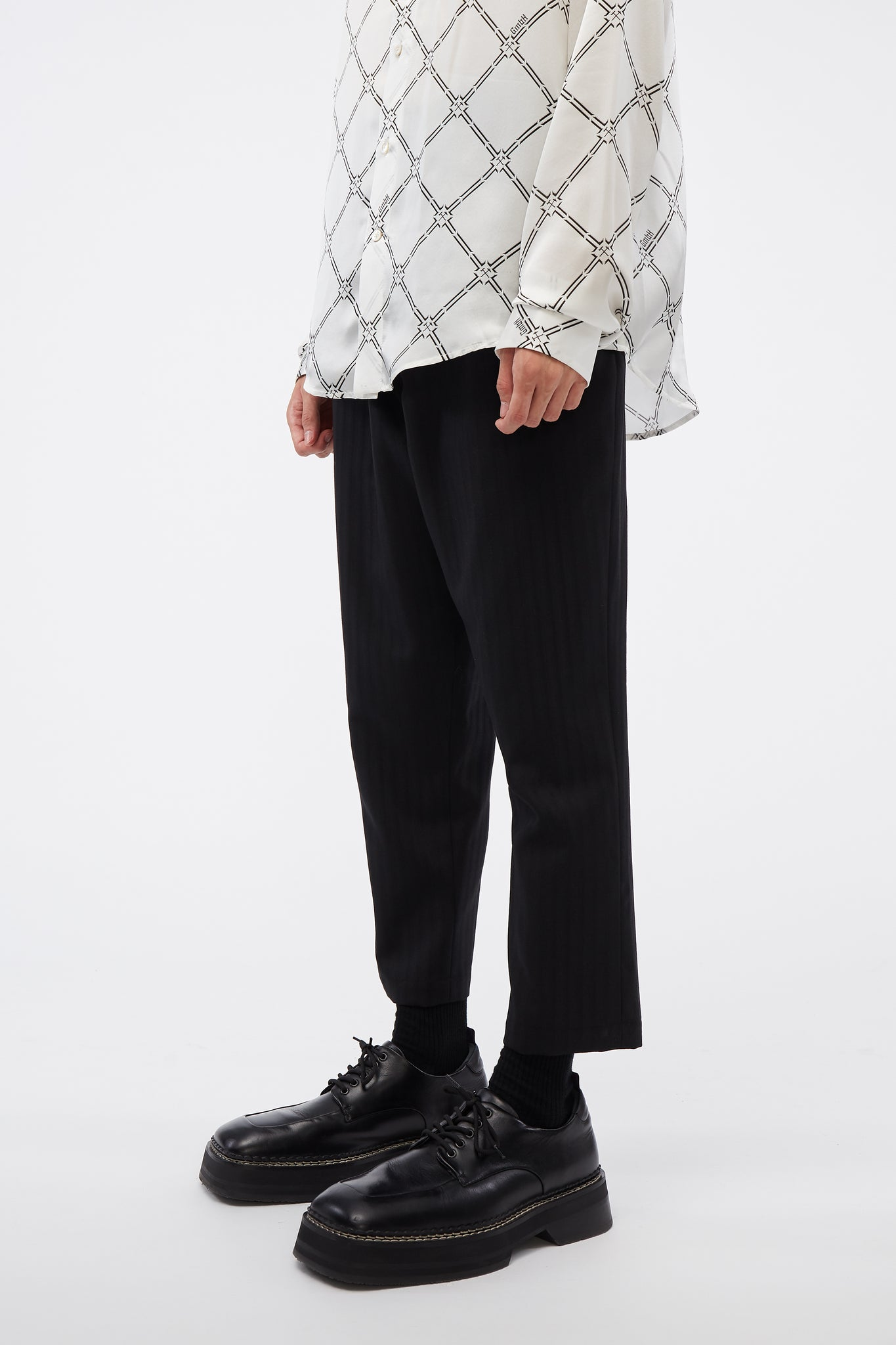 Mich Cropped Trouser  Dry Onyx Muted Stripe