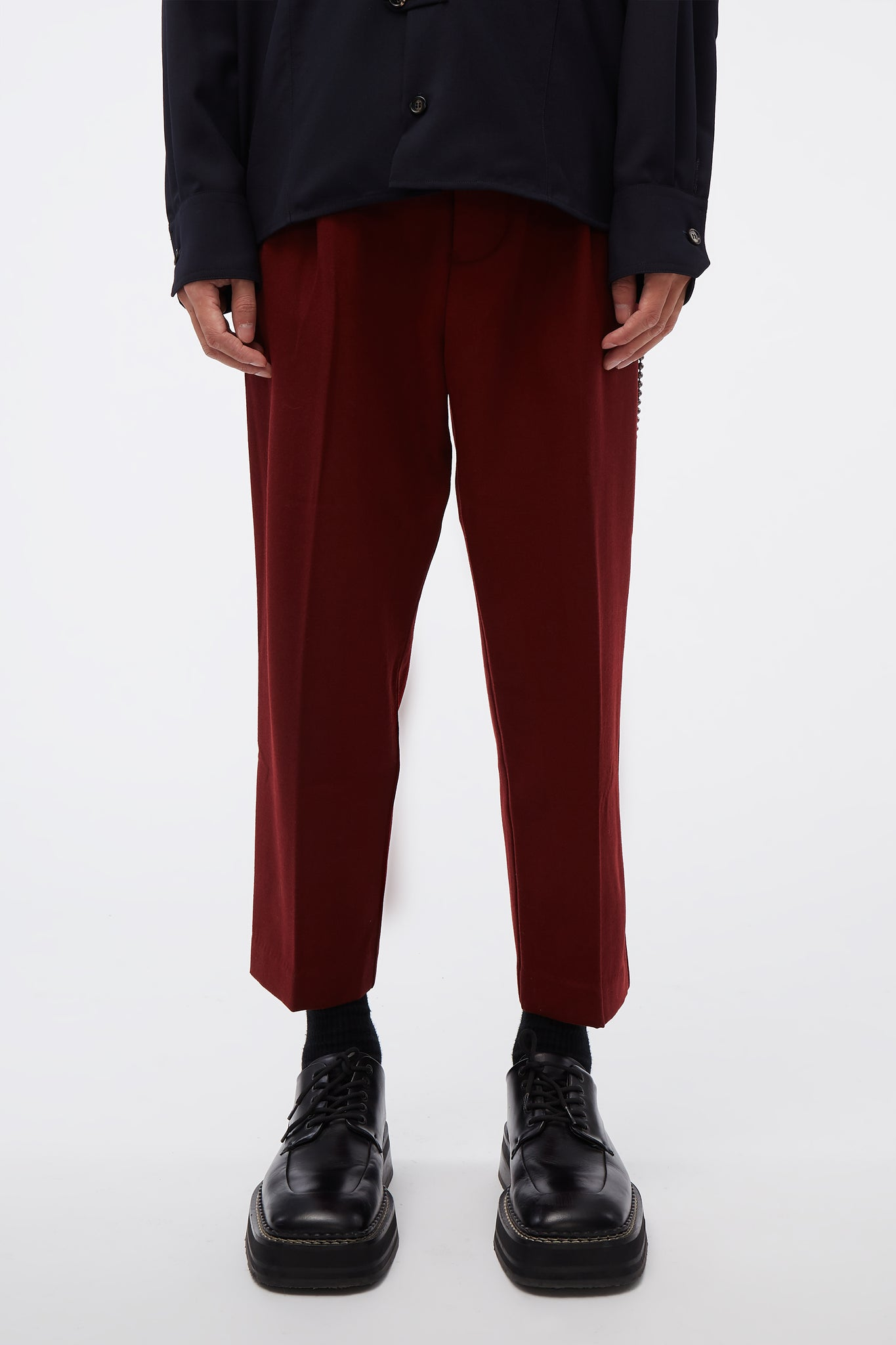 Pleated Tapered Pant Burgundy