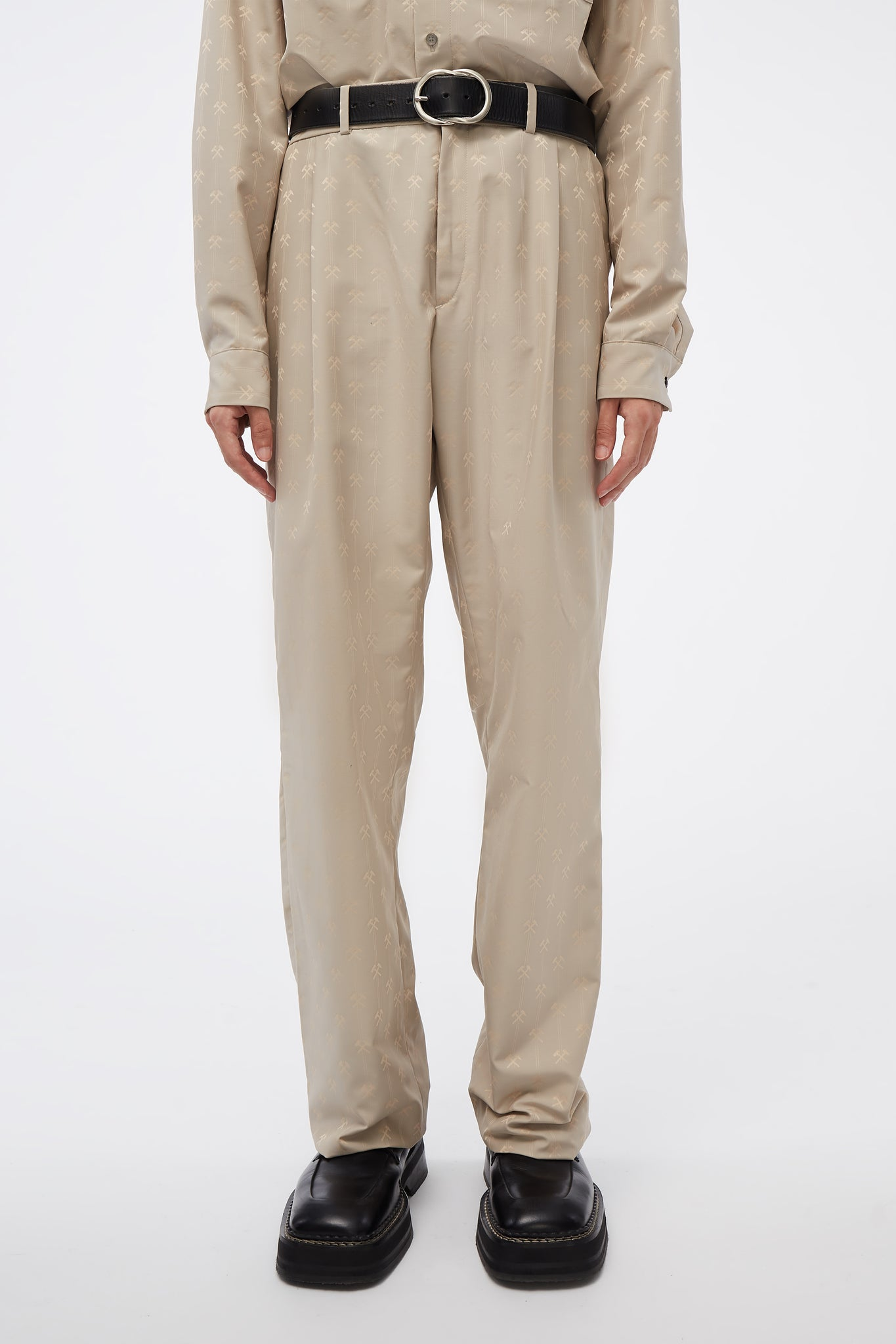 Pleated Trousers In Hammer jacquard W Adjustables Beige