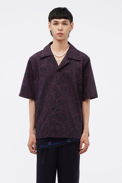 Conscious Creatures - Bali Cuban Collar SS Shirt Midnight Navy Illusion Logo Leopard Pattern