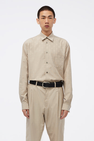 GmbH - Shirt W Semi Spread Collar In Hammer Jacquard Beige