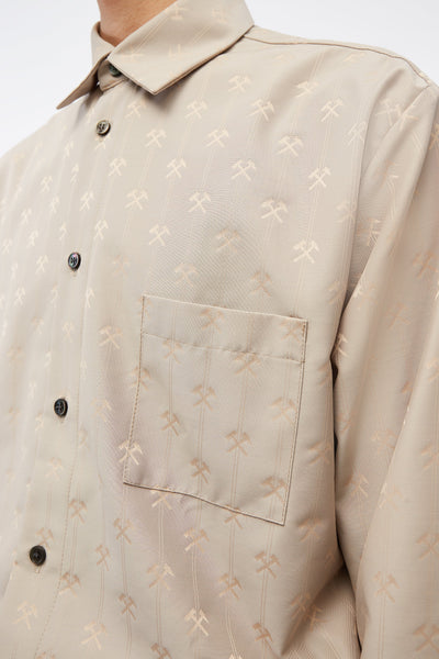 Shirt W Semi Spread Collar In Hammer Jacquard Beige