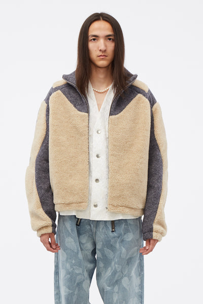 GmbH - Two-tone Fleece Jacket Beige/grey