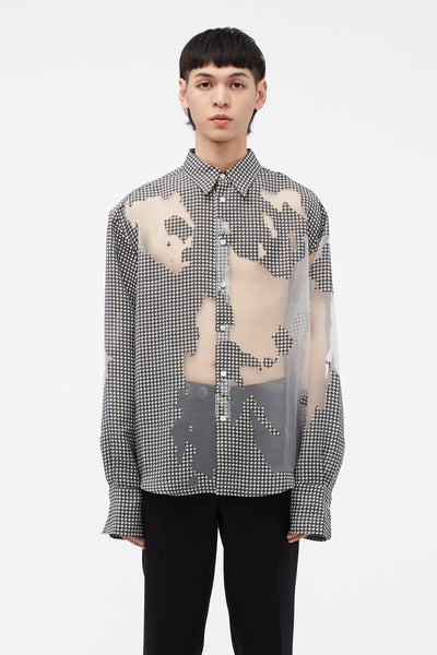 CMMN SWDN - Chase Shirt Wide Cuff / Devore Print Houndstooth