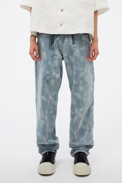 GmbH - Straight Legged Jeans W Lasered Nettle Motif 97 Print