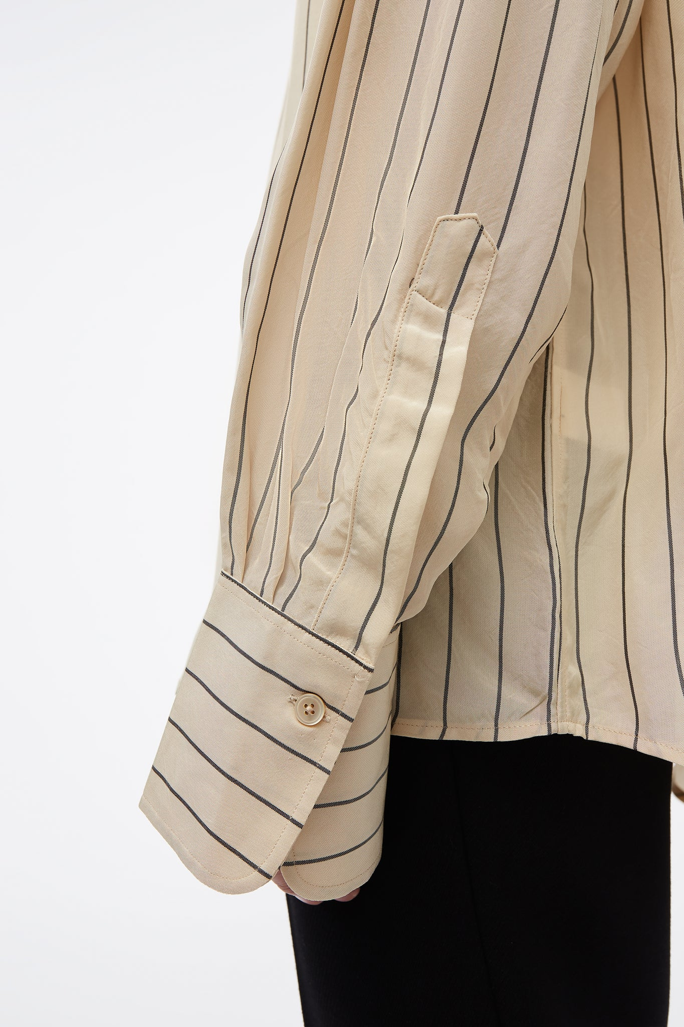 Brice Collarless Drop Shoulder L/S Shirt Beige Stripe