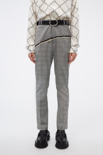 CMMN SWDN - D'angelo Trousers W/ Raw Panel Detail Houndstooth Check