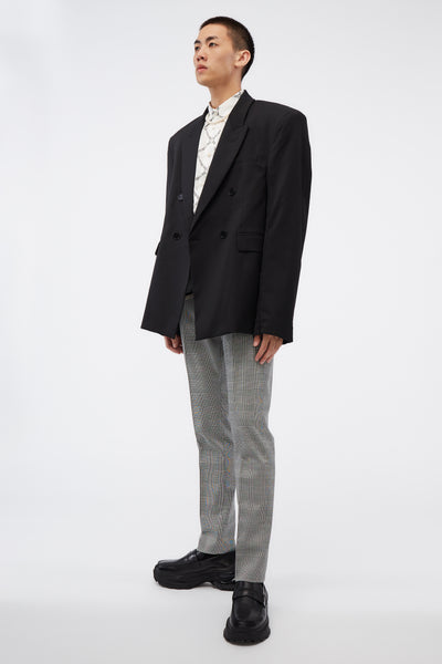 D'angelo Trousers W/ Raw Panel Detail Houndstooth Check