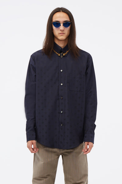 GMBH - Shirt W Semi Spread Collar In Hammer Jacquard Navy