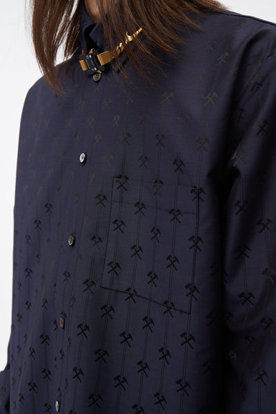 Shirt W Semi Spread Collar In Hammer Jacquard Navy
