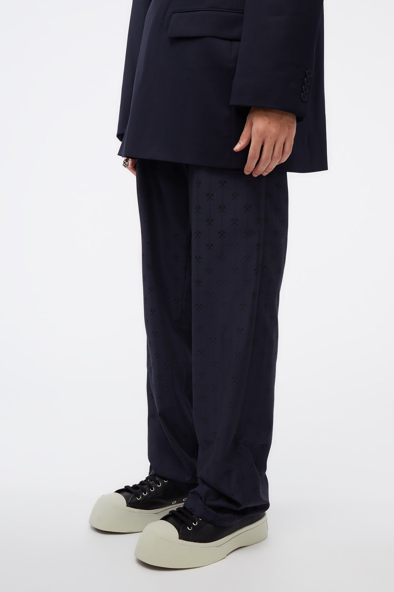 Pleated Trousers In Hammer jacquard W Adjustables Navy