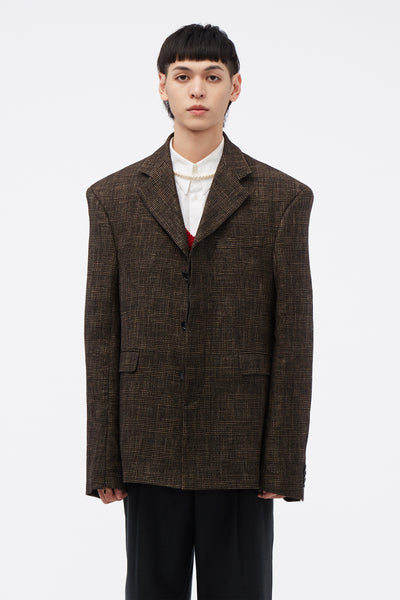 CMMN SWDN - Evan Single Breasted Jacket Brown Check