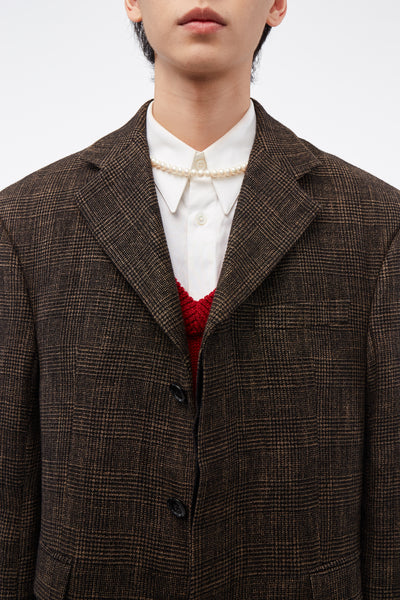 Evan Single Breasted Jacket Brown Check