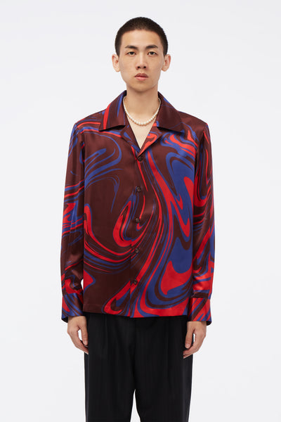 Conscious Creatures - Vice Cuban Collar LS Shirt Elvis Swirl Pattern