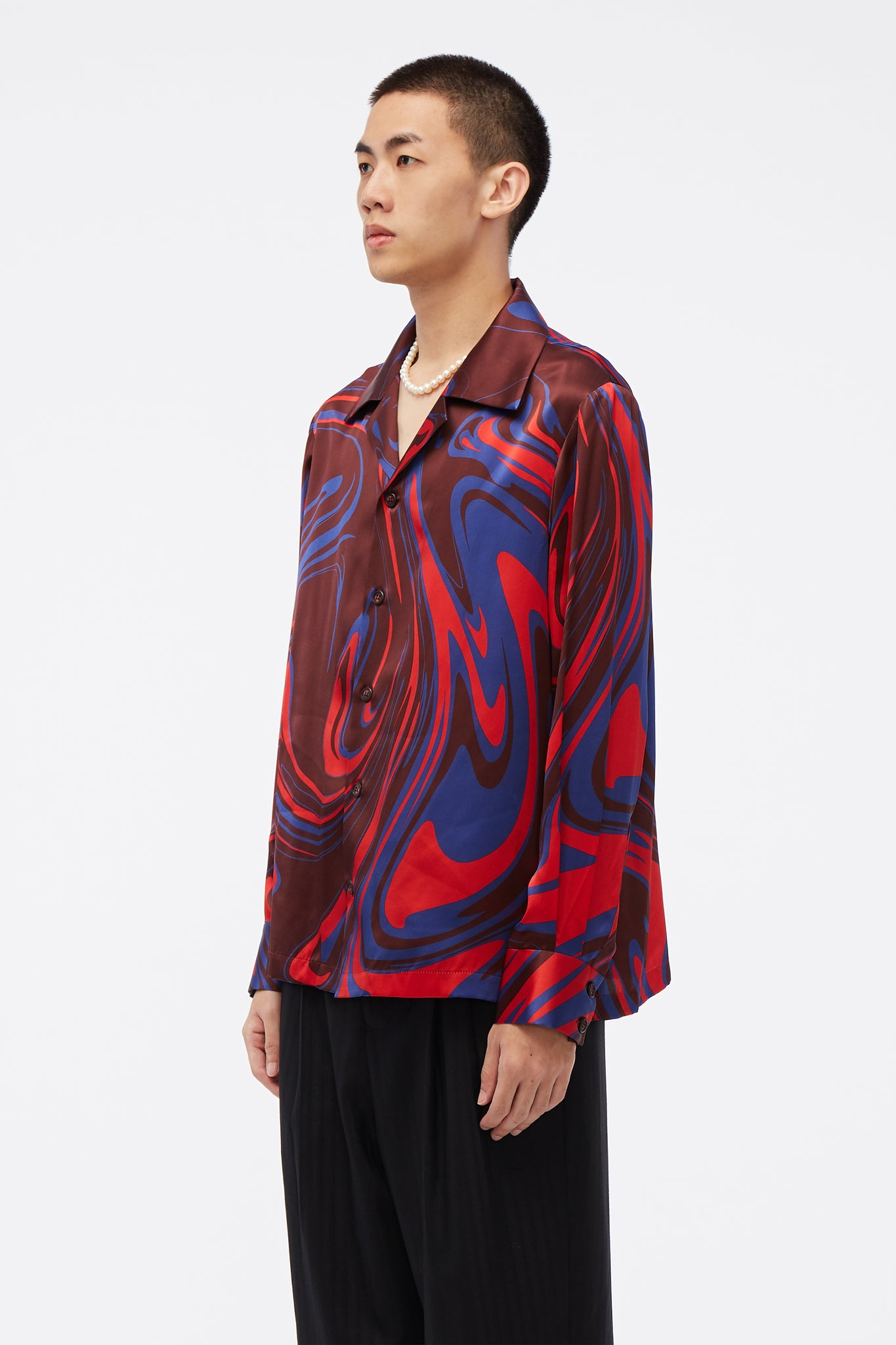 Vice Cuban Collar LS Shirt Elvis Swirl Pattern