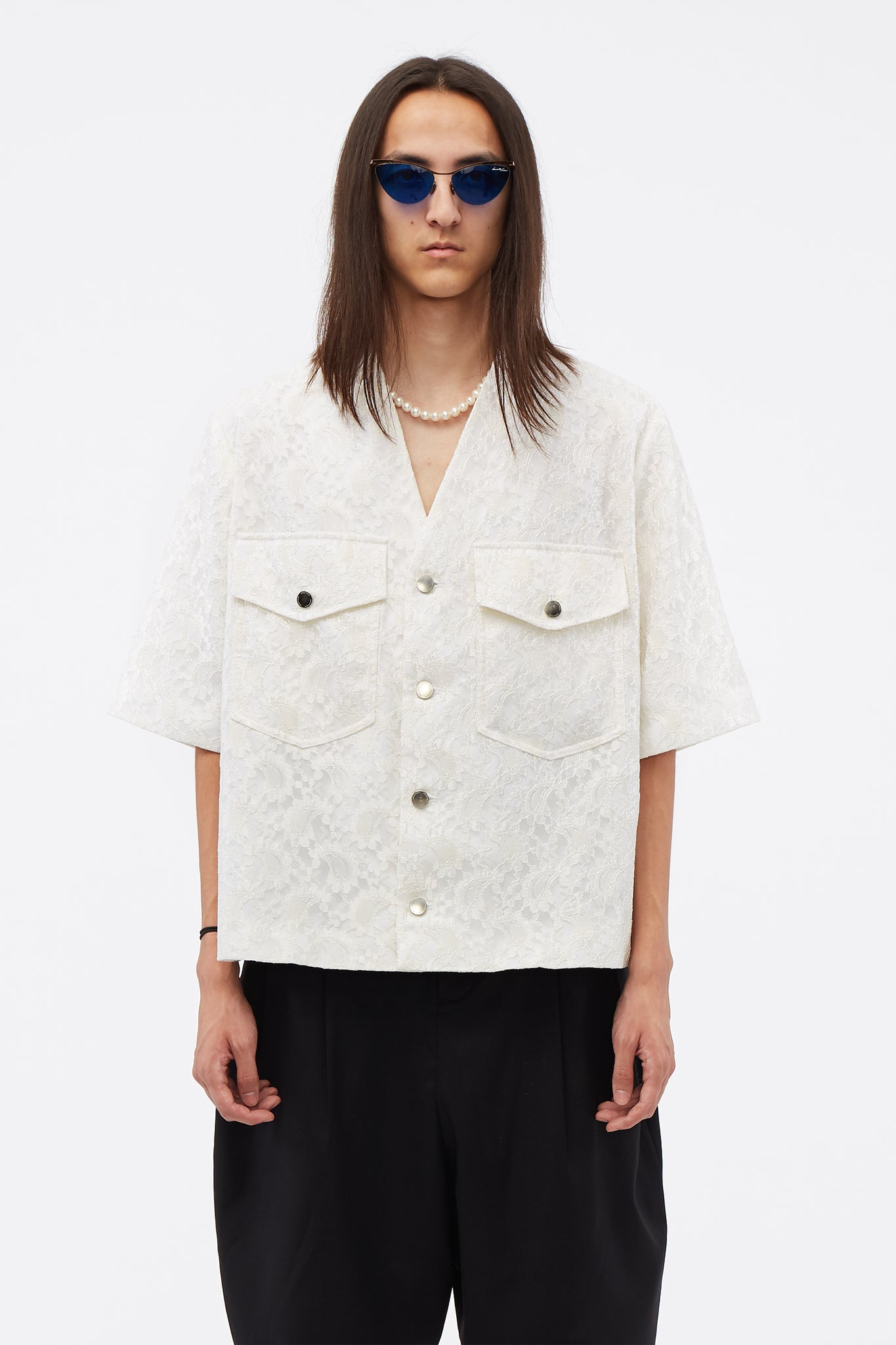 Cardigan SS Pocket Shirt Angel White Lace