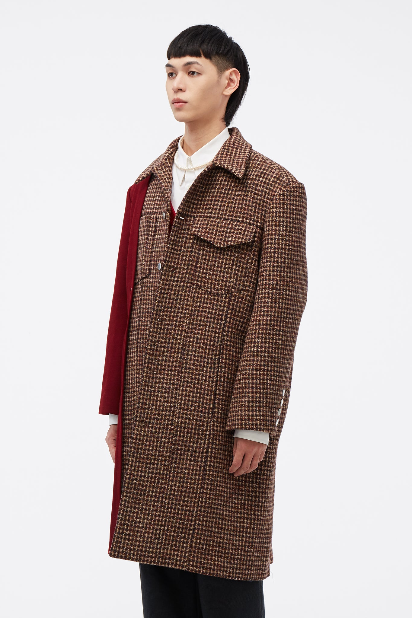 Nicholas Panelled Mac Coat Chameleon Tweed/Fiery Red