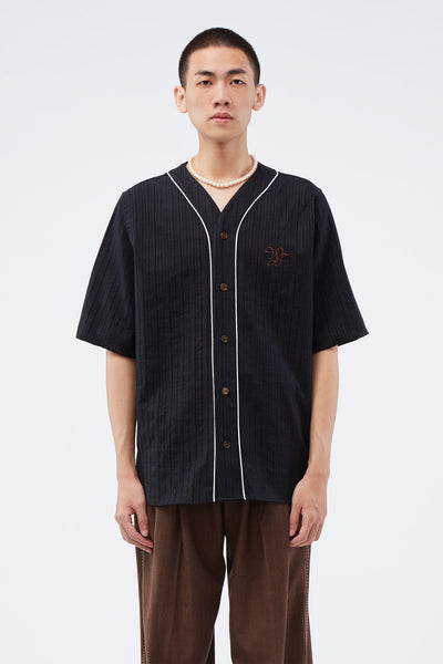 Wales Bonner - SS Baseball Shirt Black/Grey