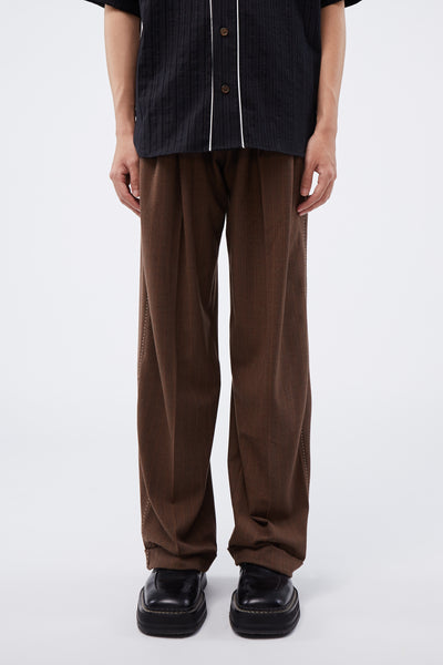 Wales Bonner - Wide Leg Trousers Walnut Check
