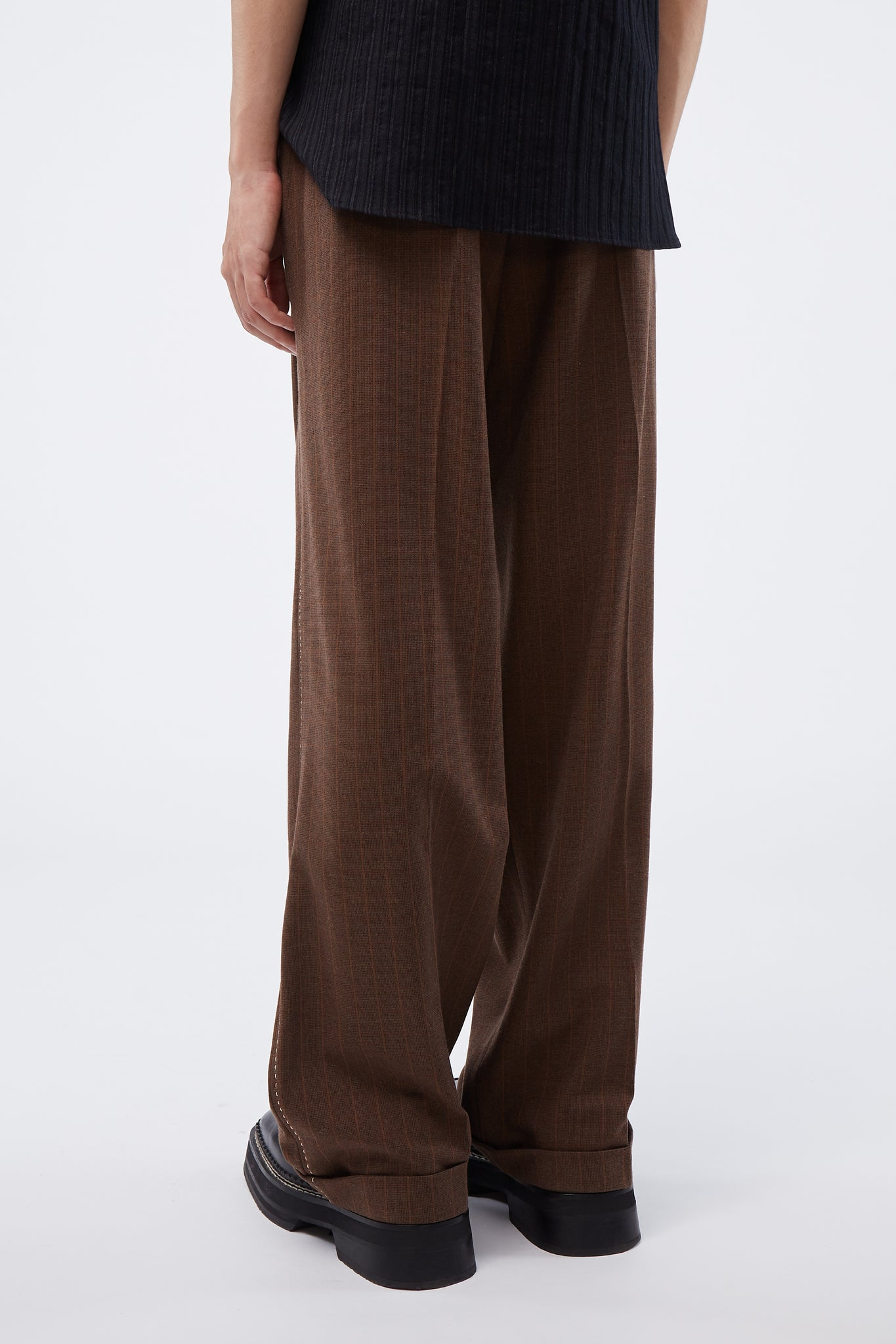 Wide Leg Trousers Walnut Check