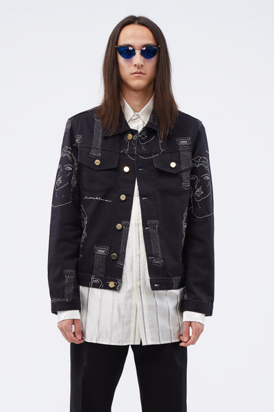 Casablanca - Printed Denim Jacket Black
