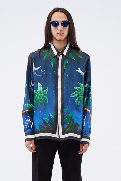 Casablanca - Printed Silk Shirt Tennis Club At Night
