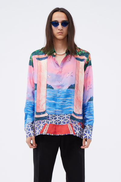 Casablanca - Printed Silk Shirt Moca Sunset