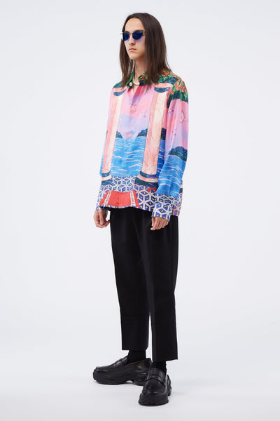 Printed Silk Shirt Moca Sunset