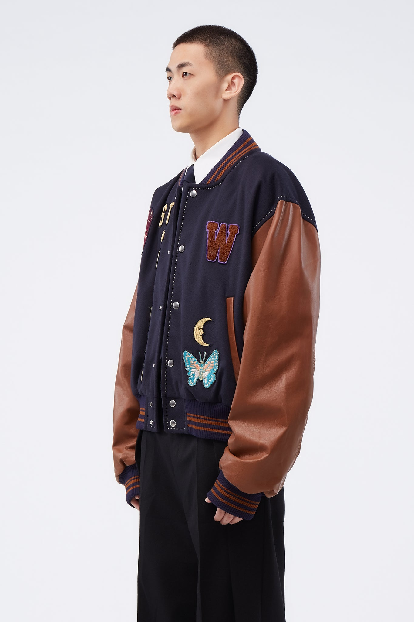 Patched Varsity Jacket Navy