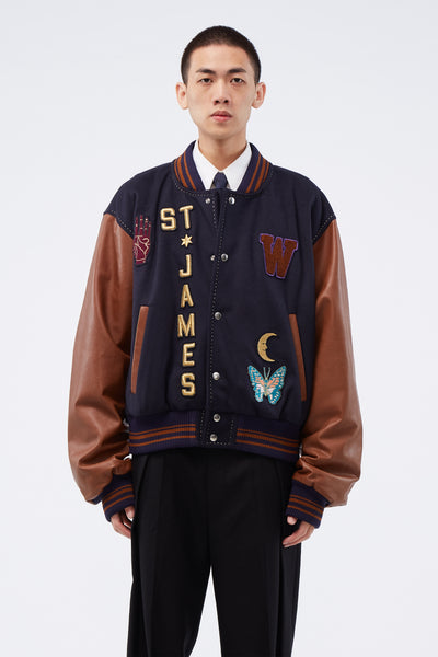 Wales Bonner - Patched Varsity Jacket Navy