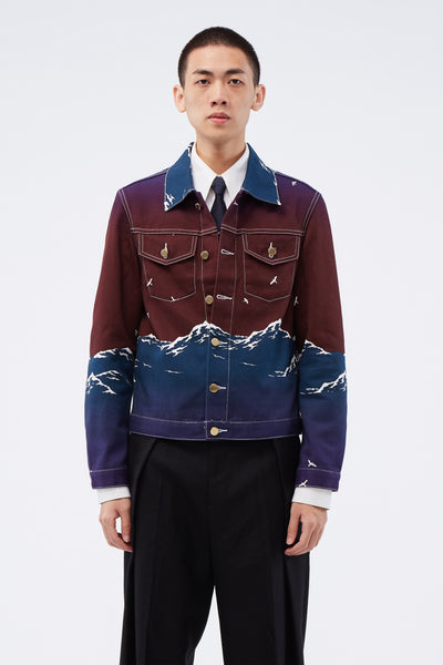 Casablanca - Printed Denim Jacket Maroon