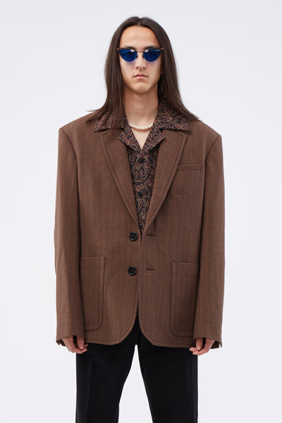 Wales Bonner - SB Tailored Jacket W/ Elbow Patch Detail Walnut Check