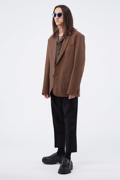 SB Tailored Jacket W/ Elbow Patch Detail Walnut Check