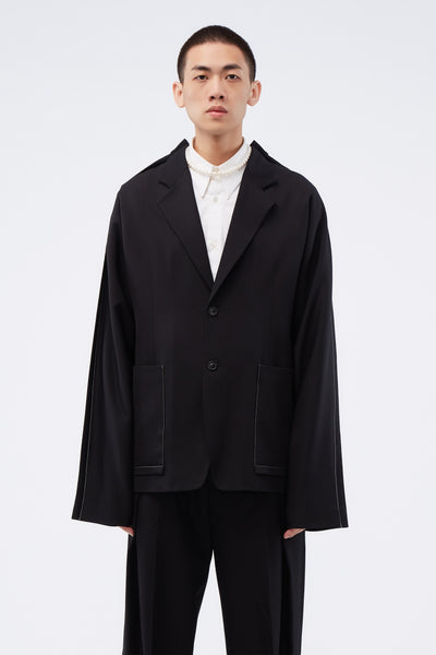Maison Margiela - Jacket Black W/ White Stitches