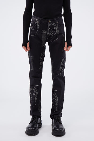 Casablanca - Printed Denim Jeans Black