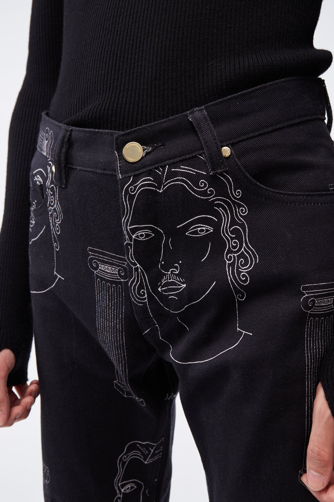 Printed Denim Jeans Black