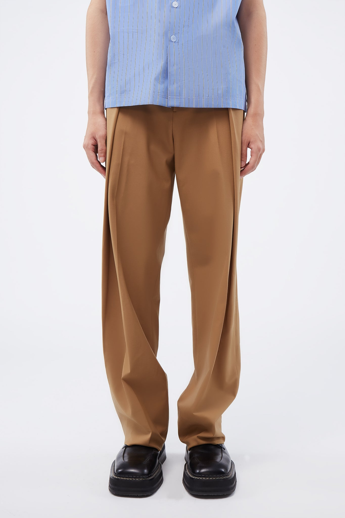Big Fold Pants Beige