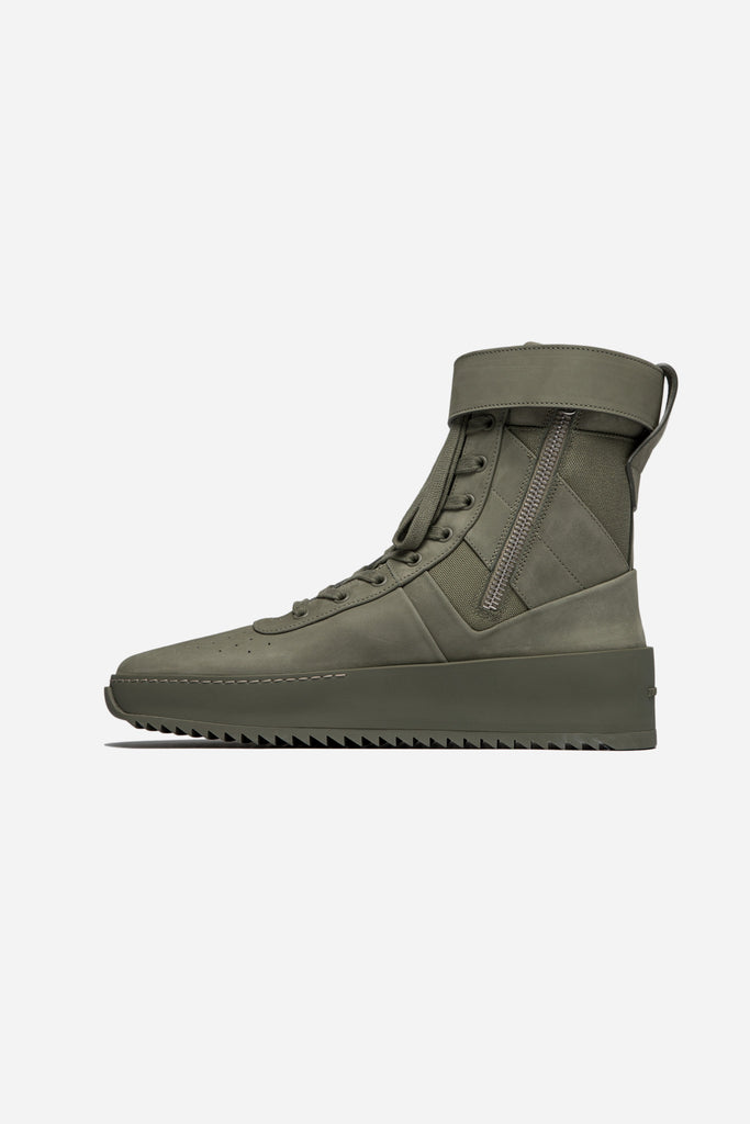Military Leather Sneakers Army Green
