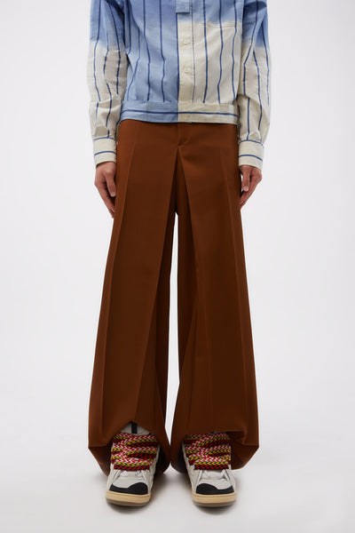 Lanvin - Large Pleats Trousers Wood