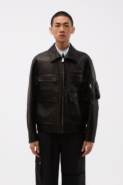 1017 Alyx 9sm - Calfskin Leather Police Jacket Black