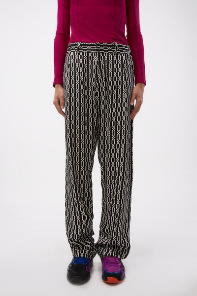 GmbH - Pleated Trousers In Printed Viscose W Adjustables Chains Black/white