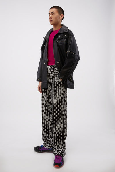 Pleated Trousers In Printed Viscose W Adjustables Chains Black/white