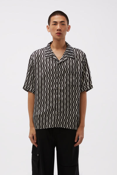 GmbH - Bowling Shirt With Digital Print Chains Black/white