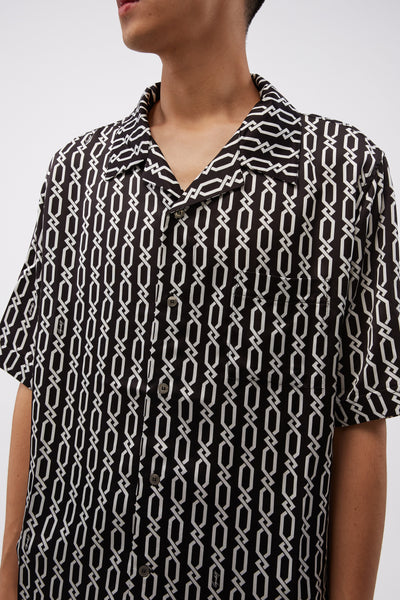 Bowling Shirt With Digital Print Chains Black/white