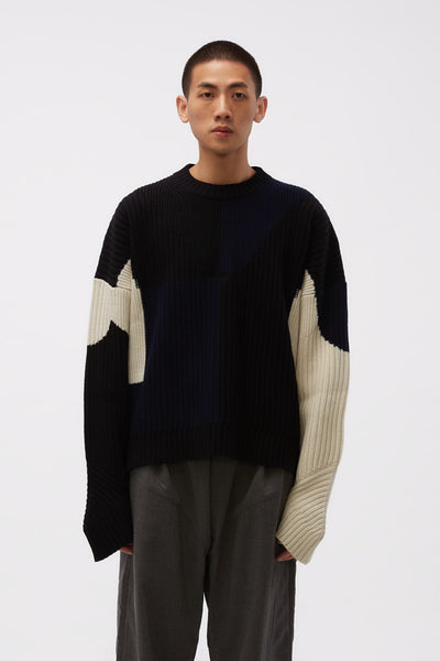 GmbH - Knitted Unisex Color Blocked Jumper Black/Blue/Off-white