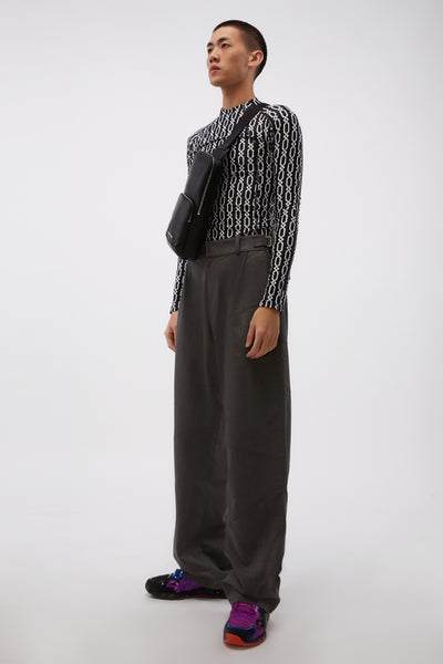 Pleated Trousers W Adjustables Grey
