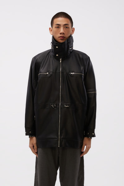 GmbH - Jacket W Adjustable Waist In Vegan Leather Black