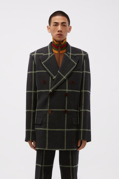 Wales Bonner - Soul DB Tailored Jacket Charcoal/ Green