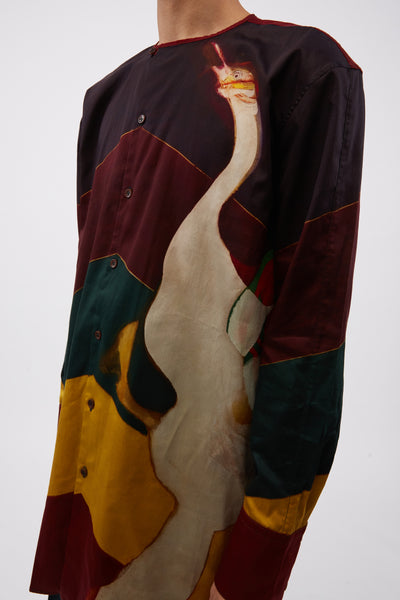 Frank Bowling Swan I Collarless Shirt Ebony/ Multi