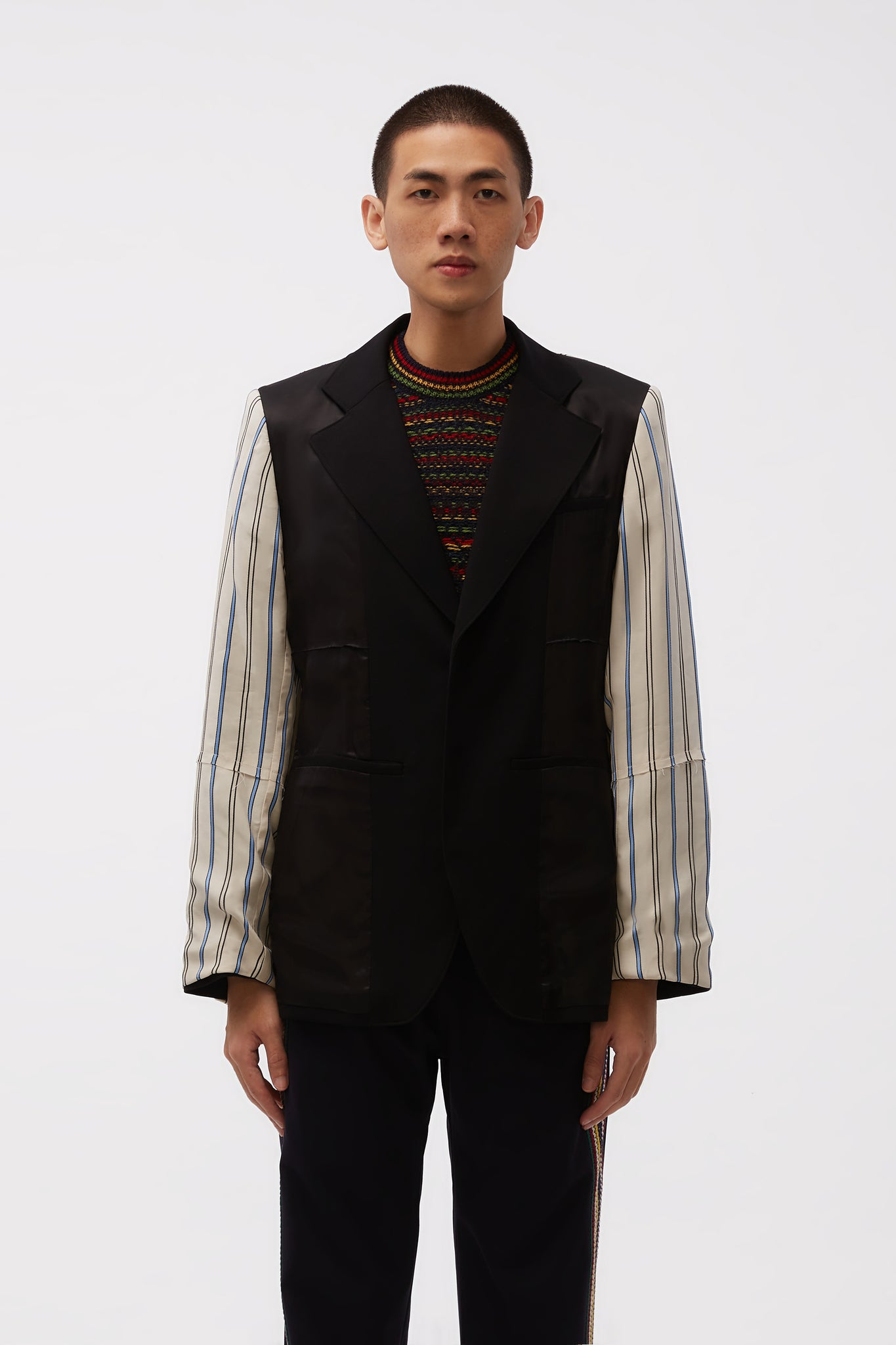 Sterling Patchwork Tailored Jacket Black/ Ivory